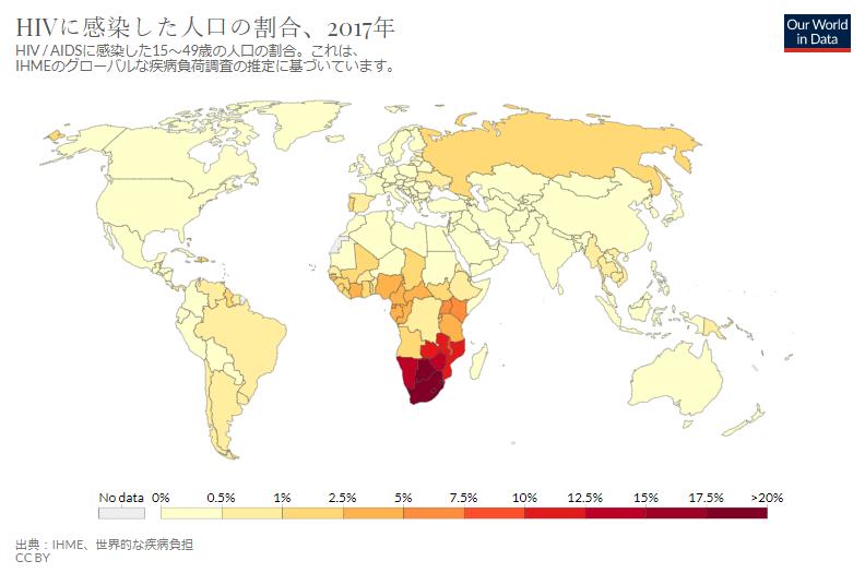 2017世界のHIVに感染した人口の割合